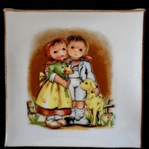 Boy Girl and Dog Square wall Hanging with Gold trim 3.75 by 3.75 inches - $9.89
