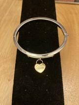 Women's COACH Bracelet Bangle Silver Gold Hearts Lock Jewel - $49.00
