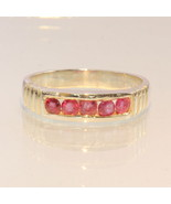 Cambodian Pink Ruby Handmade Sterling Silver Channel Set Unisex Ring siz... - $86.45