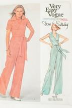 VTG 1970s Vogue Diane Von Furstenberg DVF Wrap Jumpsuit Pattern 1612 Sz 10 Used - $62.79