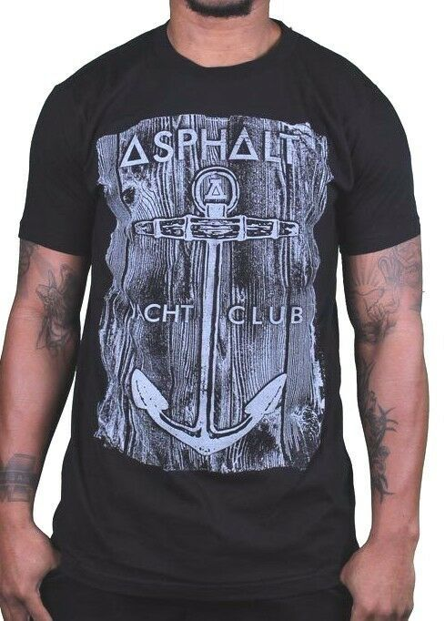 Asphalt Yacht Club Skateboarding Cali Black Mens Anchor Wood T-Shirt AYC NWT