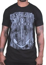 Asphalt Yacht Club Skateboarding Cali Black Mens Anchor Wood T-Shirt AYC NWT image 1
