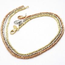 3 18K ROSE WHITE YELLOW GOLD BRACELETS, DIAMOND CUT BALLS 1.5 MM, TRIPLE WORKED image 1