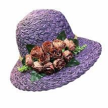 PANDA SUPERSTORE Folding Straw Hat Stylish Bucket Hat Retro Style Rose S... - $27.37
