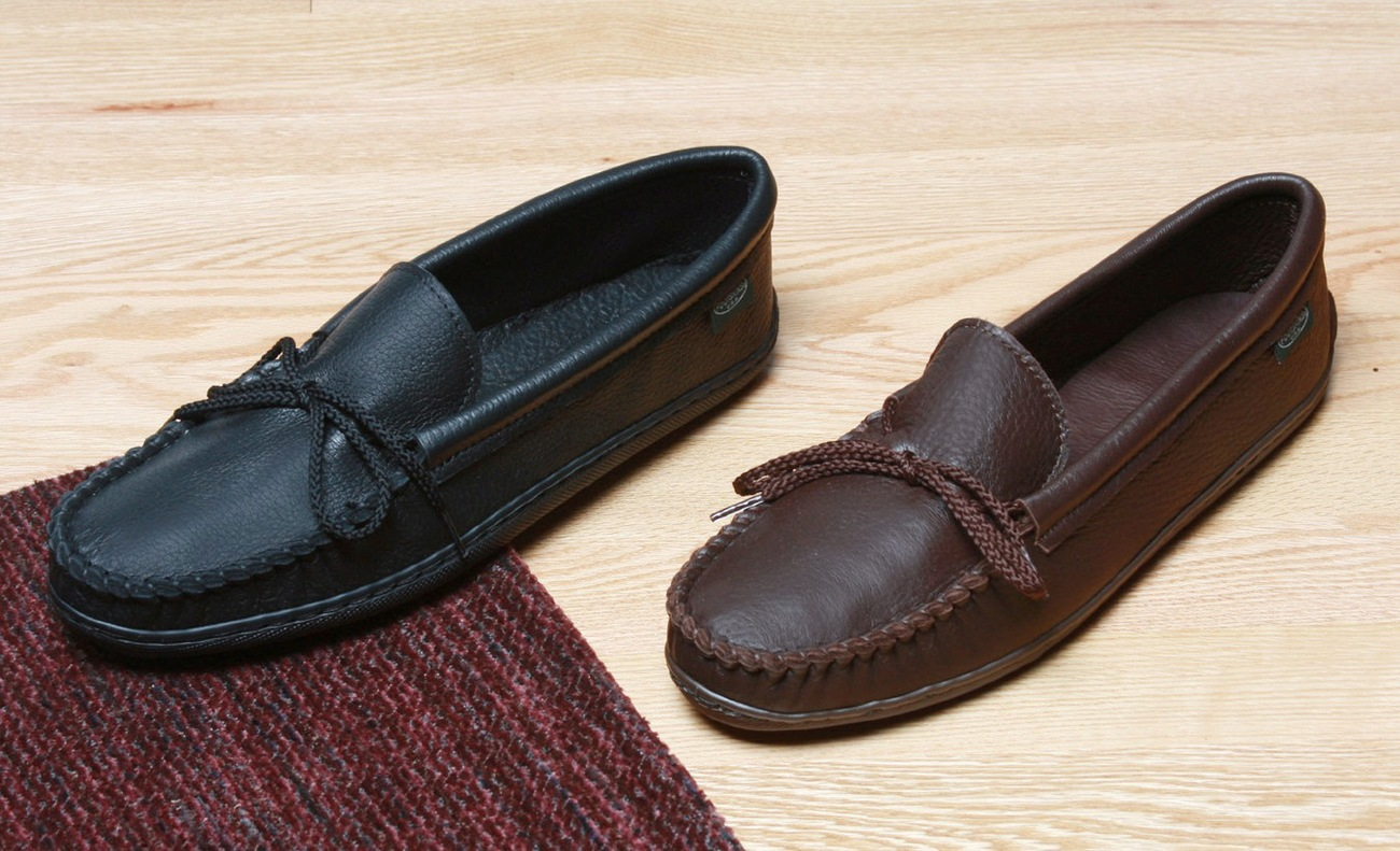 Mens Molded Sole Deertan Moccasins Cushion Insoles Sizes 7-13 Made in USA Bonanza
