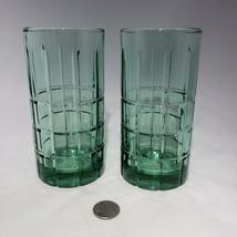 "Set of 2 Anchor Hocking Tartan Emerald Green 6 1/8"" Tall Water Tumblers ... - $14.95"
