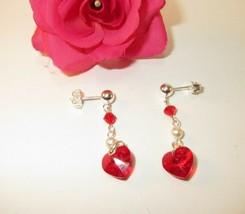 made w Petite Red Siam SWAROVSKI Crystal Heart w Red Bi & Cream Pearl Ea... - $10.89