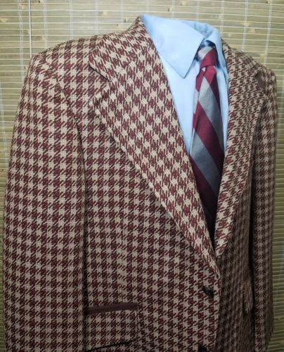 RARE! Vintage Johnny Carson Mens Houndstooth Wool Tweed 2 buttons Blazer EUC