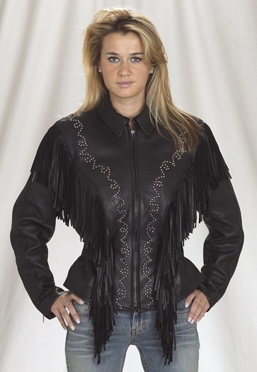 QASTAN Women's New Black Leather Jacket With Studs and Fringe WWJ07