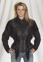 QASTAN Women's New Black Leather Jacket With Studs and Fringe WWJ07 image 2
