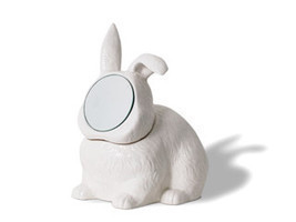 Rabbit Mirror Jewelry Box Container Vanity Urban Punk Kitsch Retro Taxid... - €59,67 EUR