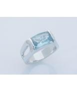 Brazilian Blue Checkerboard Cut Unisex Fashion Ring Size 8 - £19.11 GBP