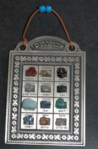 Judaica Kabbalah High Priest Hoshen Stones Hebrew Israel 12 Tribes Wall Hang