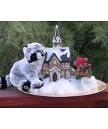 Christmas Ceramic Lighted Church Family of Teddy Bears Plush Webkinz Rac... - $16.00