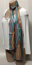 Talbots Silk Scarf Vibrant Multi Color Striped Beaded Hem Line Wrap MINT - £29.24 GBP
