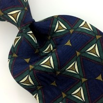 Structure Usa Tie Geometric Triangles Navy Blue Dark/Green Silk Necktie I12-83 - $15.83