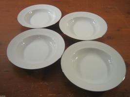 Tradition Platinum Hutschenreuther 4 Rim Soup Bowls White Basketweave Pl... - $32.33