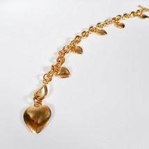 """Vintage Puffy Hearts Toggle Charm Thick Chain Bracelet Gold Tone 7.5"""" Love - $20.90"""