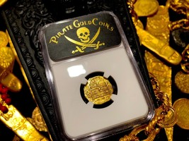 "Spain 1 Escudos 1590 ""Full Date"" Ngc 53 Pirate Gold Coins Treasure Doubloon Cob - $2,695.00"