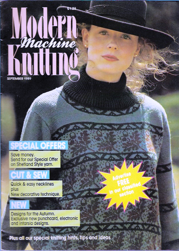 Primary image for Modern Machine Knitting Sept 1989 Magazine Acorn Sweater, Saddle Shoulders more