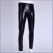 Men's Skin Tight Black Color Faux Latex Zipper Pouch Stretch Pants Leggings  image 3