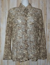 Womens Pretty Sheer Lace Rods Long Sleeve Shirt Size Large excellent - $7.91