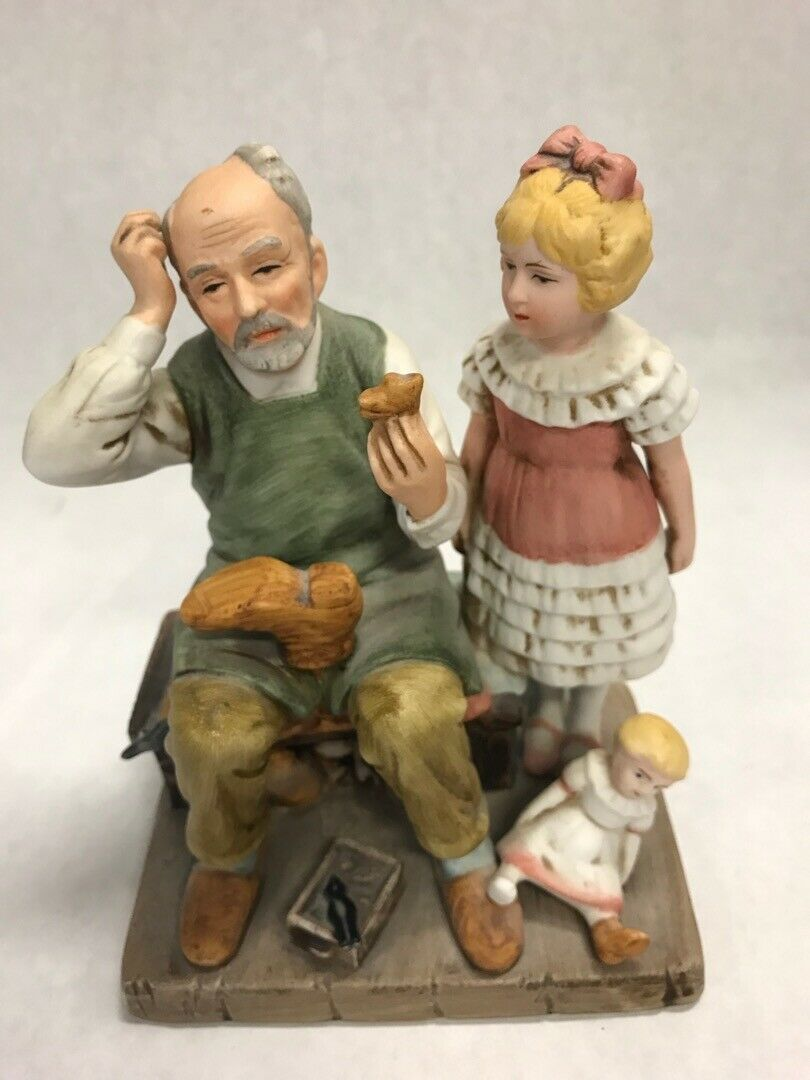 2 NORMAN ROCKWELL figurines 1980 toymaker 1981 shoemaker vintage
