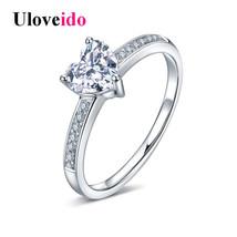 Uloveido Rings Women Wedding Jewelry Heart Ring Female Sterling Silver J... - $14.58
