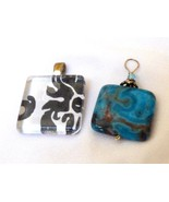 Lot of 2 pendants charms Art Glass Black & White and Blue Agate stone - $17.82