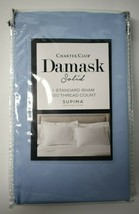1 Charter Club Damask Solid Standard Pillow Sham 550 Thread Count Supima Blue - $23.76