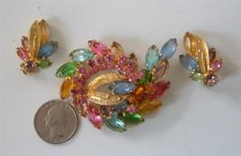 Vintage 50's Multi ColorPastel Rhinestone Brooch Pin Earrings Set BIG Gold - $44.55