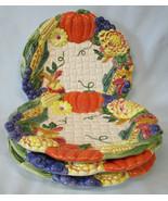 "Fitz & Floyd Garden Harvest Canape Plate 9"", set of 4 - $40.48"