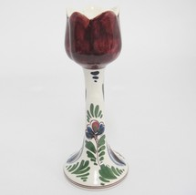 Delft Polychrome Tulip Candlestick Candle Holder Signed Linea Handpainte... - $22.76