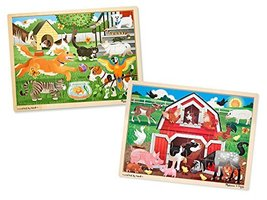 Melissa & Doug Animals Wooden Jigsaw Puzzle Sets - Pets and Farm (24 pcs each) - $19.75