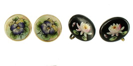 SEMI ANTIQUE WATER LILY PANSY HAND PAINTED PORCELAIN BUTTON SCREW BACK E... - $72.89