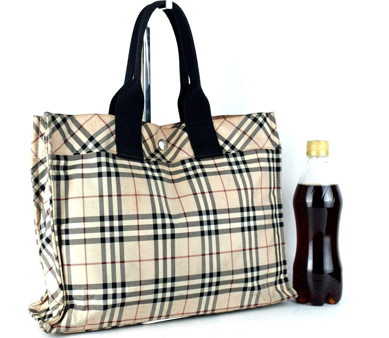 d57fe57d544d S l1600. S l1600. Previous. Authentic Burberry London Blue Label Nova Check  Handbag Beige Nylon Canvas Purse