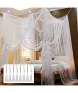 4 Corner Post Bed Canopy, Elegant Curtain Net for Full/Queen/King Size Bed - $70.06