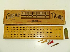 Vintage Early McCrillis Horn No. C-16 Wood Cribbage Board Game A23B w/ Box - $16.04