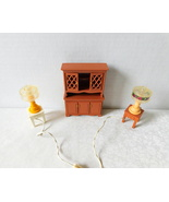 Fisher Price Vintage Cupboard and Lamps Dollhouse Furniture - $19.99