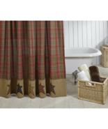 Stratton primitive shower curtain rustic log cabin bath decor - $49.49