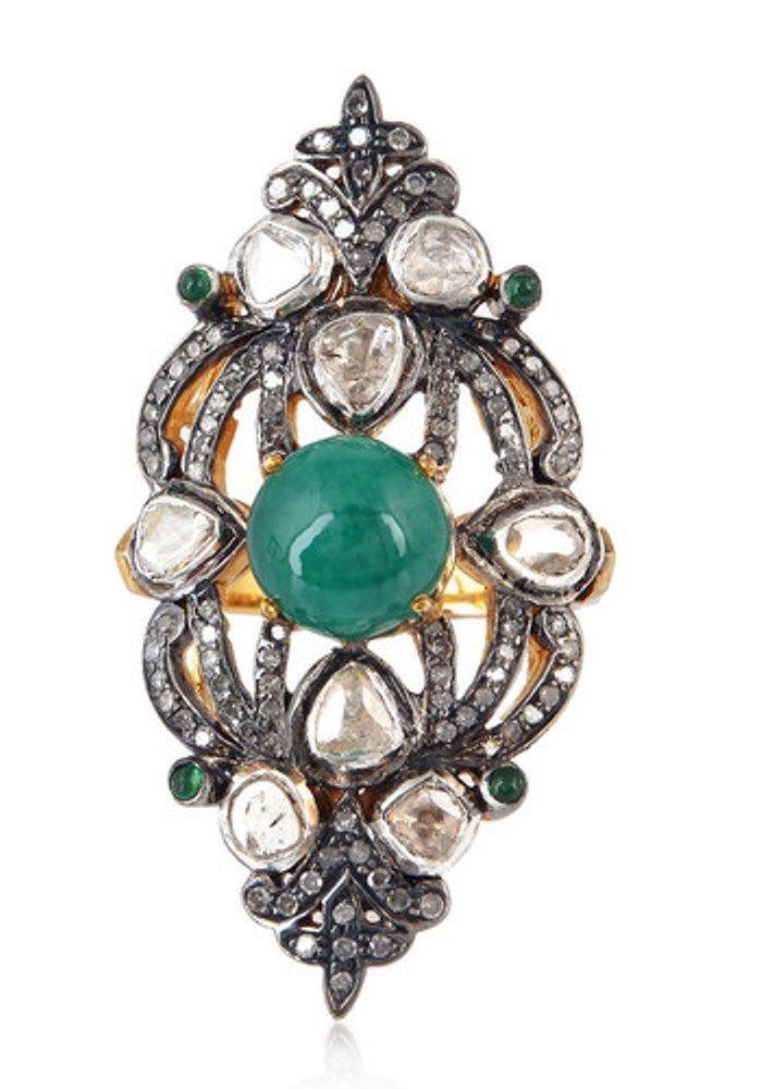 Handmade Rose Cut/Polky Diamond 925 Silver Unique Emerald Antique INSP Long Ring
