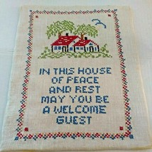 Completed Cross Stitch Finished House Welcome Guest Saying Linen Unframe... - $14.46