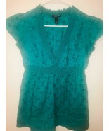 BANANA REPUBLIC, Women's green blouse with floral embroidery, size XS - $14.84