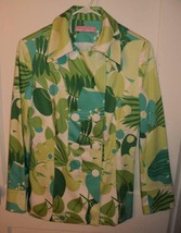 VIEW COLLECTION Spring Green Floral Print Double Breasted Stretch Jacket... - $29.30