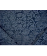 1-1/8Y THIBAUT LAPIS BLUE FLORAL DAMASK CHENILLE DRAPERY UPHOLSTERY FABRIC - $35.64
