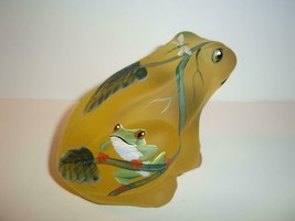 Fenton Glass BUTTERCUP YELLOW SATIN HP FROG Ltd FAGCA Exclusive by CC Ha... - $130.95