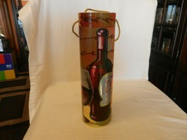 Round Single Wine Bottle Storage Box  Abstract Art Wine Glass & Bottle I... - $39.59