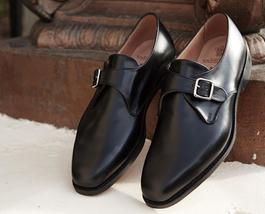 Genuine Leather Handmade Magnificiant Black Color Single Buckle Strap Monk Shoes - $139.90+