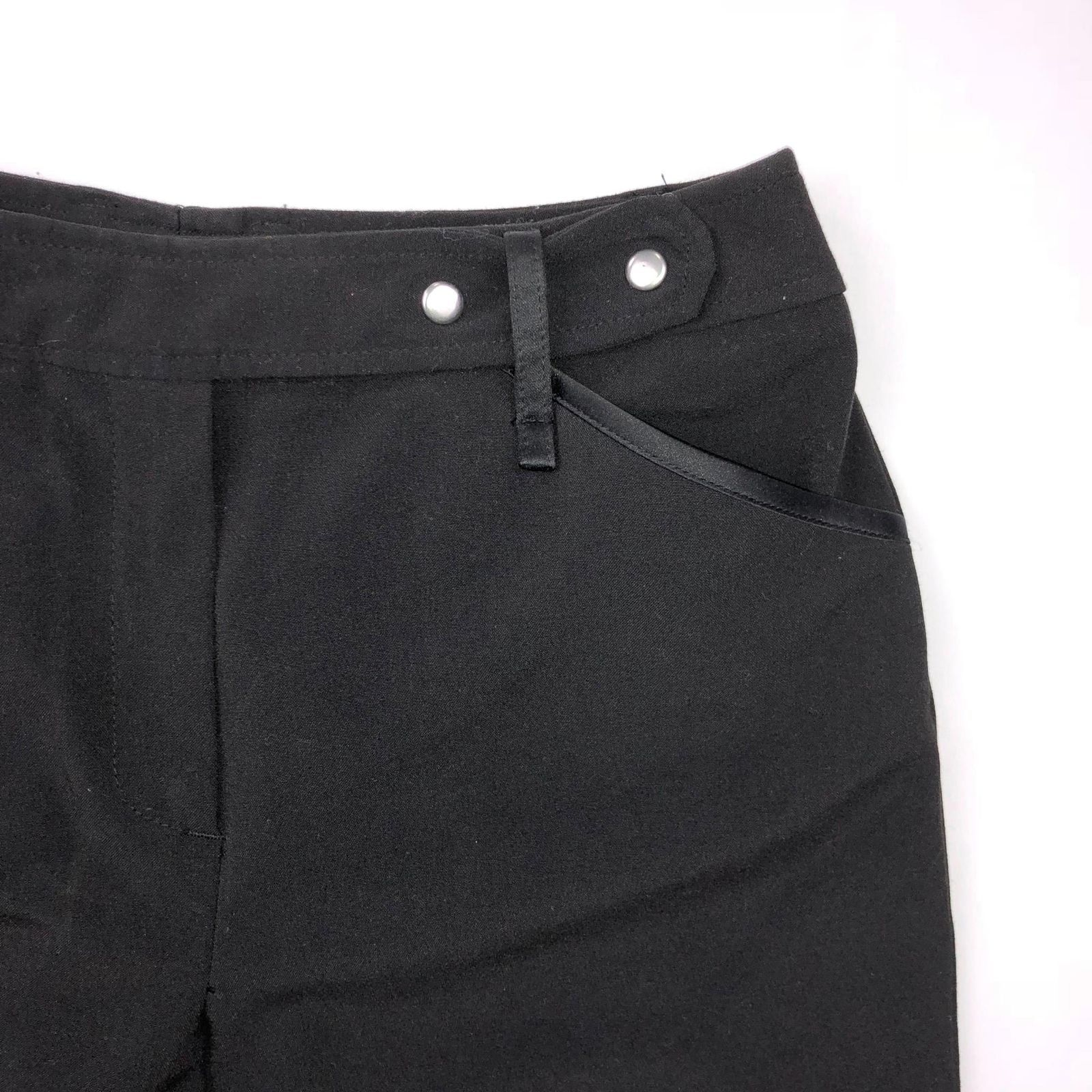 Larry Levine Women's Size 4 Black Stretch Wide Crips Cropped Dress Pants