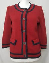 Talbots Womens Size Small Red / Navy Blue Button 3/4 Sleeve Sweater VG - $19.99